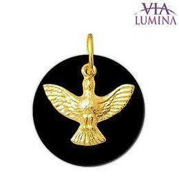 Pingente em Ouro com Pedra Onix - Divino Espírito Santo