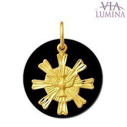 Pingente em Ouro com Pedra Onix - Divino Espírito Santo com Resplendor
