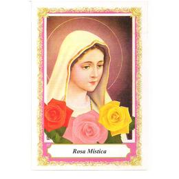 Nossa Senhora Rosa Mística - Pacote c/ 100 Santinhos de Papel