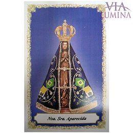 Nossa Senhora Aparecida - Fundo Azul - Pacote c/ 100 Santinhos de Papel