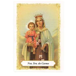 Nossa Senhora do Carmo - Pacote c/ 100 Santinhos de Papel