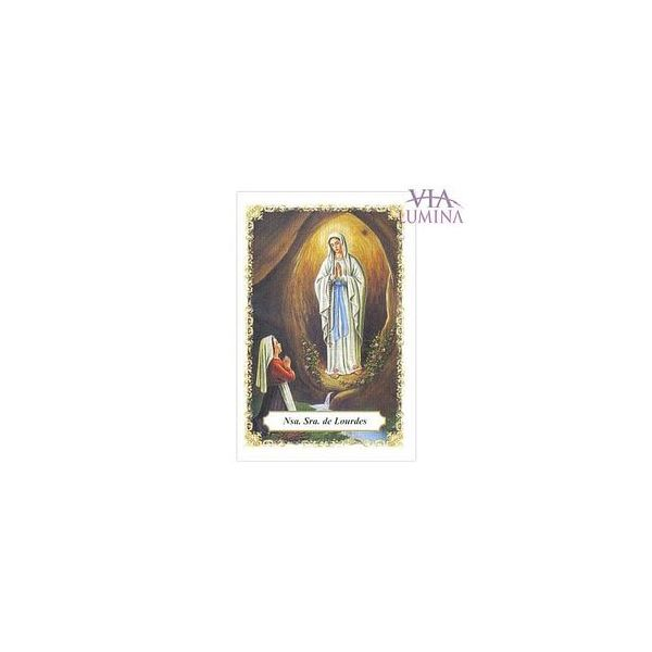 Nossa Senhora de Lourdes - Pacote c/ 100 Santinhos de Papel