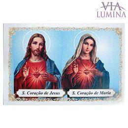 Sagrado Coração de Jesus e Maria - Pacote c/ 100 Santinhos de Papel
