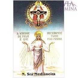Nossa Senhora Medianeira - Pacote c/ 100 Santinhos de Papel