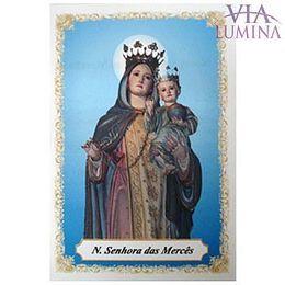 Nossa Senhora das Mercês - Pacote c/ 100 Santinhos de Papel