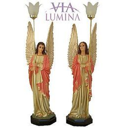 Imagem de Anjos c/ olhos de vidro e Luminária - Resina - Rosa - 82cm