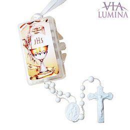 Terço Branco com Caixinha Retangular - Primeira Eucaristia - 10 unidades