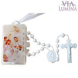 Terço Branco com Caixinha Retangular  - Batismo - 10 unidades