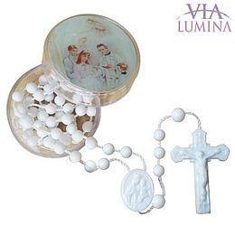 Terço Branco com Caixinha Redonda - Batismo - 10 unidades
