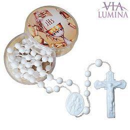 Terço Branco com Caixinha Redonda - Primeira Eucaristia - 10 unidades