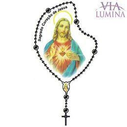 Adesivo Sagrado Coração de Jesus - Terço Preto