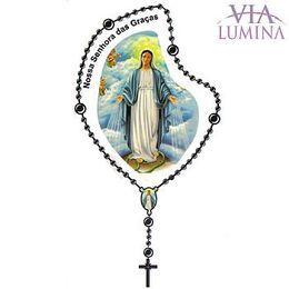 Adesivo Nossa Senhora das Graças - Terço Preto