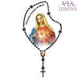Adesivo Imaculado Coração de Maria - Terço Preto